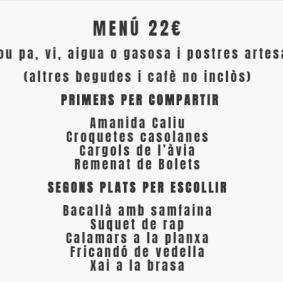 Menú 22€ El Caliu